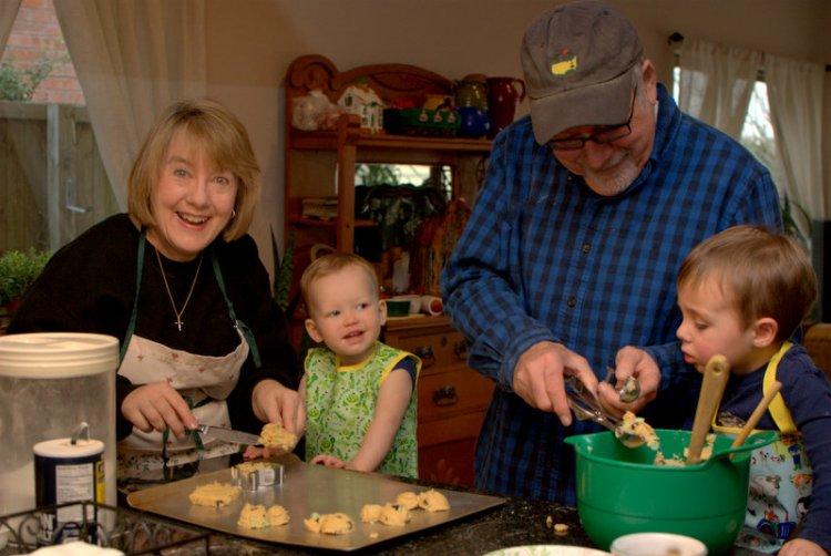 Baking cookies with Keebs, Ryan and Grandad